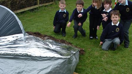 Pupils with their spaceship for a school project.