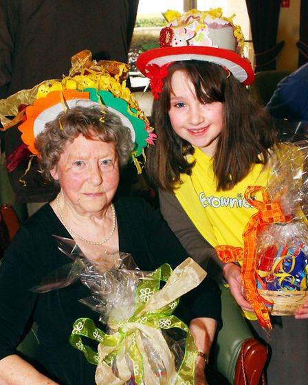 Easter Bonnet Parade at The Hawthorns Retirement Village in Clevedon. Monday, April 1, 2013. The two