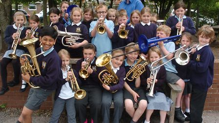 Pupils with their brass Instruments.