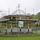 Grove Park Bandstand covered in scaffolding.