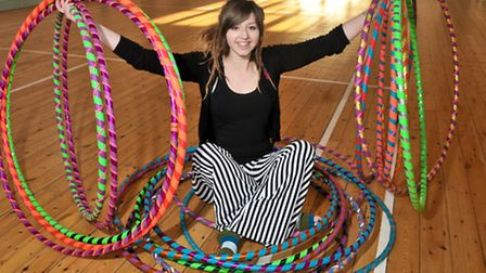 Sophie Febrey and her hooping class at Wrington Memorial Hall.