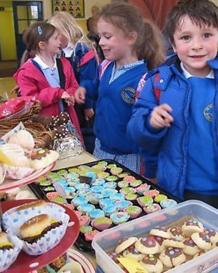 Pupils during the cake sale at St Nicholas Chantry Primary School