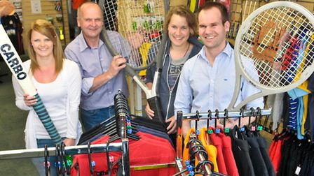 Claudia Routhorn-James, Nigel Deane, Abi Helps and Tim Deane in the new shop.