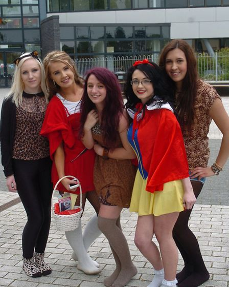 Year13 students in fancy dress for their last day.