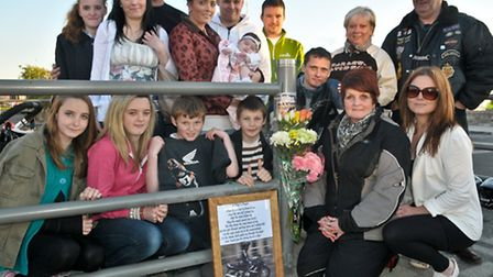 Memorial plaque to motorcyclist Stephen Whitehead unveiled by his widow Helen and their family.