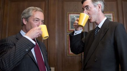 Nigel Farage MEP and Conservative MP Jacob Rees-Mogg (right) meet at a Bruges Group event. Photograp