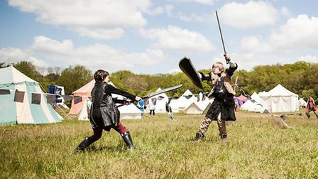 Students test out their combat skills at a live action role play event.