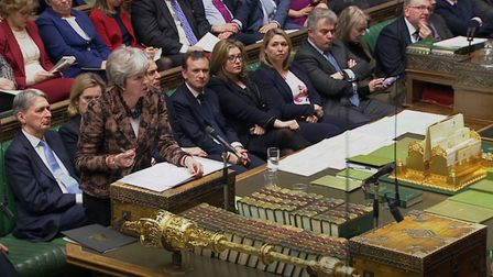 Prime Minister Theresa May makes a statement to MPs in the House of Commons. Photograph: PA Wire.