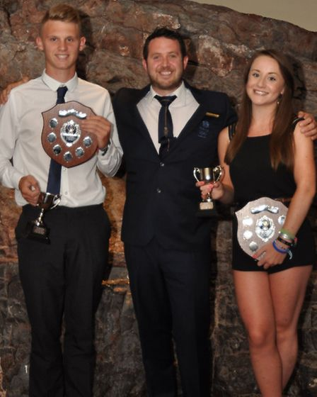 Sports Personality Award winners George King and Jess Paul with Laurence Godfrey