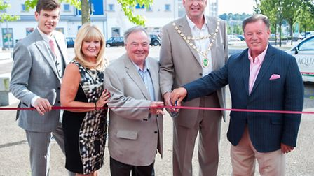 Aqua owners Ben Smithson (left) and Richard Smithson with Patsy and Eddie Large and Cllr Alan McMurr