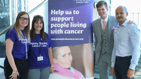 Amy Cason and Emma Smith from Penny Brohn Cancer Care with Richard Smithson and restaurant manager N