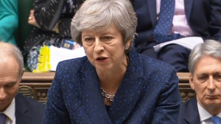 Theresa May speaking at prime minister's questions in the House of Commons