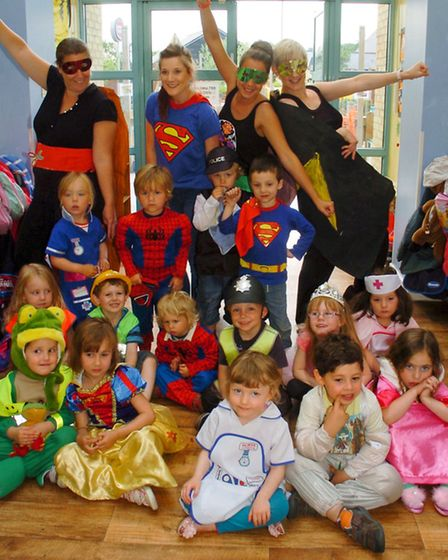 National child safety all dressing up as Superheroes.