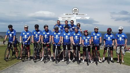The Co-operative Food Group workers at the end of the charity bike ride