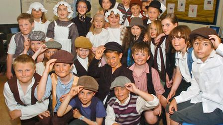 Pupils in costume for Oliver.