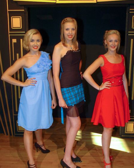 Models wearing designs by GCSE Textile students Maise Ashmead, Kayleigh Boyce and Wasima Khan.