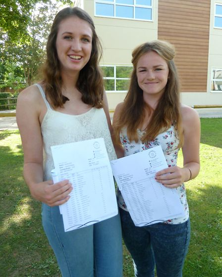 Lucy Hickling and Maddy Cox showing off their grades at Backwell School.