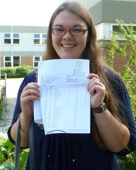 Vicky Lee-Bapty with her GCSE results at Backwell School.