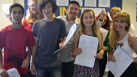 St Katherine's School GCSE results day: Some of the high-achievers with headteacher Chris Sammons.Ca