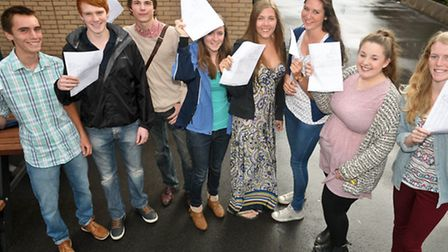 Students with their results.