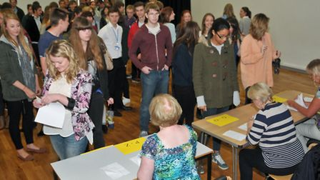Students picking up their results.