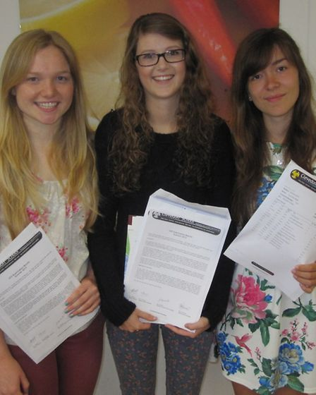 Clevedon School A-level pupils: (left to right) Naomi Treble, Rebecca Royce and Lucy Pope.