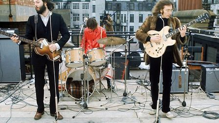 The Beatles performing on the roof of the BBC. Picture: Evening Standard/Hulton Archive/Getty Images