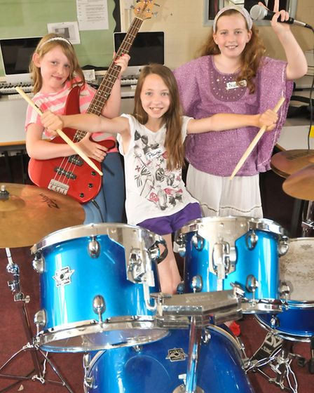 Niamh, Paige and Hannah at Rock School.
