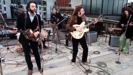The Beatles performing on the roof of the BBC. Picture: Getty/Archive