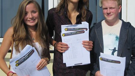 Clevedon School GCSE results day: Katie Grinyer (9A*, 3A), Arran Elcoate (9A*, 2A, 1B) and John Bran