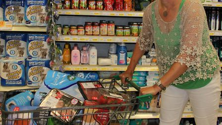 Mercury competition winner Annabel Toogood with her trolly load of free goodies.