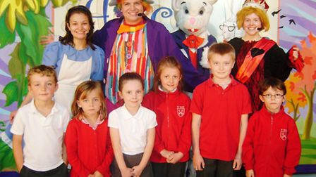 Members of the cast from M & M Theatrical Productions with Jack, Evie, Olivia, Hannah, Harrison and