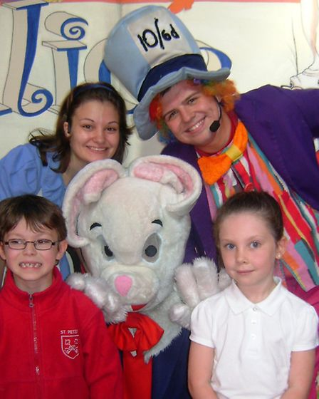 Members of the cast from M & M Theatrical Productions with Daniel and Olivia.