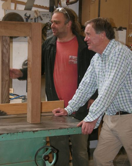 Chris Wood and Sir David Wills in the workshop