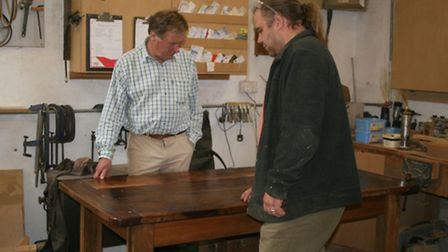Sir David Wills and Chris Wood with a finished table