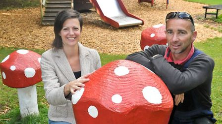 Lucinda Button and Gavin Hunt with some of their creations, in what has become know as the toadstool