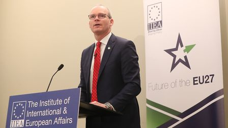Simon Coveney addresses a meeting of the Institute of International and European Affairs. Photograph