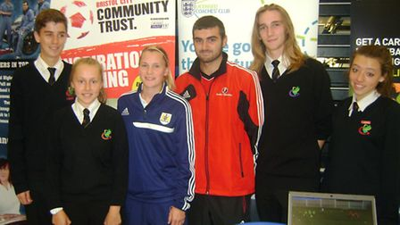 Bristol City FC were among those exhibiting at the Gordano School 2013 careers convention.Pictured l