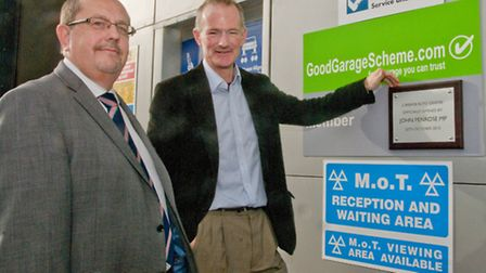 Gordon Veale General Manager with John Penrose MP. New Carbase HQ, Aisecombe Way, in Weston.