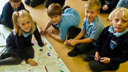 Pupils taking part in the Big Draw.