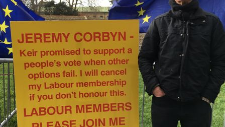 Labour member Peter Hayden travelled from the Midlands to campaign outside the House of Commons. Pho