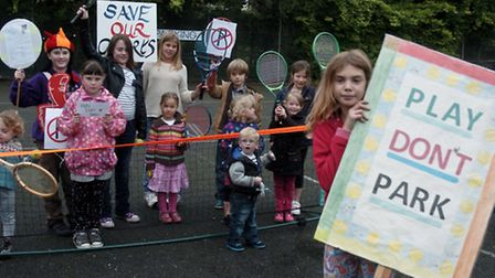 Protesting over plans to turn them into a car park on October 13