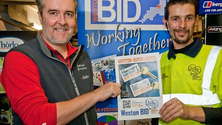 Outdoors and Active, Orchard Meadows. Owner Paul Batts and Dan Berkeley from the Town Centre Partner