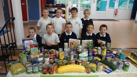 Children from Kingshill Church School donated food to Nailsea Foodbank for their harvest festival.