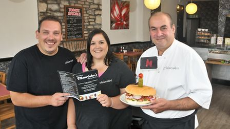 Selina and Darren Williams with chef Peter Panayi.