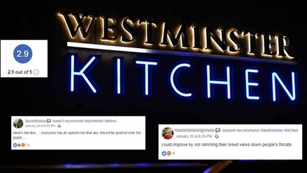 Westminster Kitchen has received negative comments since adding an anti-Brexit message to its bills