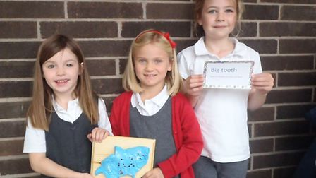 Birdwell Primary School pupils with their clay items for the trail
