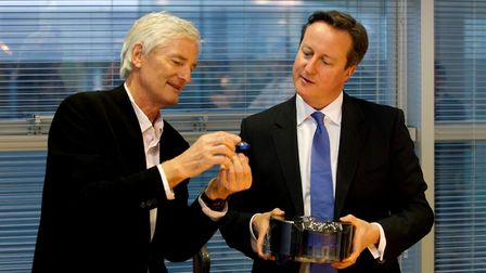 Former prime minister David Cameron (right) at the Dyson Vacuum Factory in Malmesbury with James Dys
