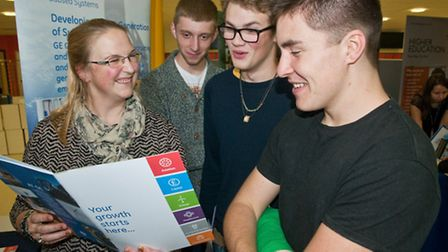 Jennie Turner from GE Oil&Gas chatting with Jack, Alex and Jamie.