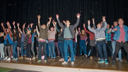 """Backwell School. Sixth form students rehearsing for their production of the musical """"Our House""""."""